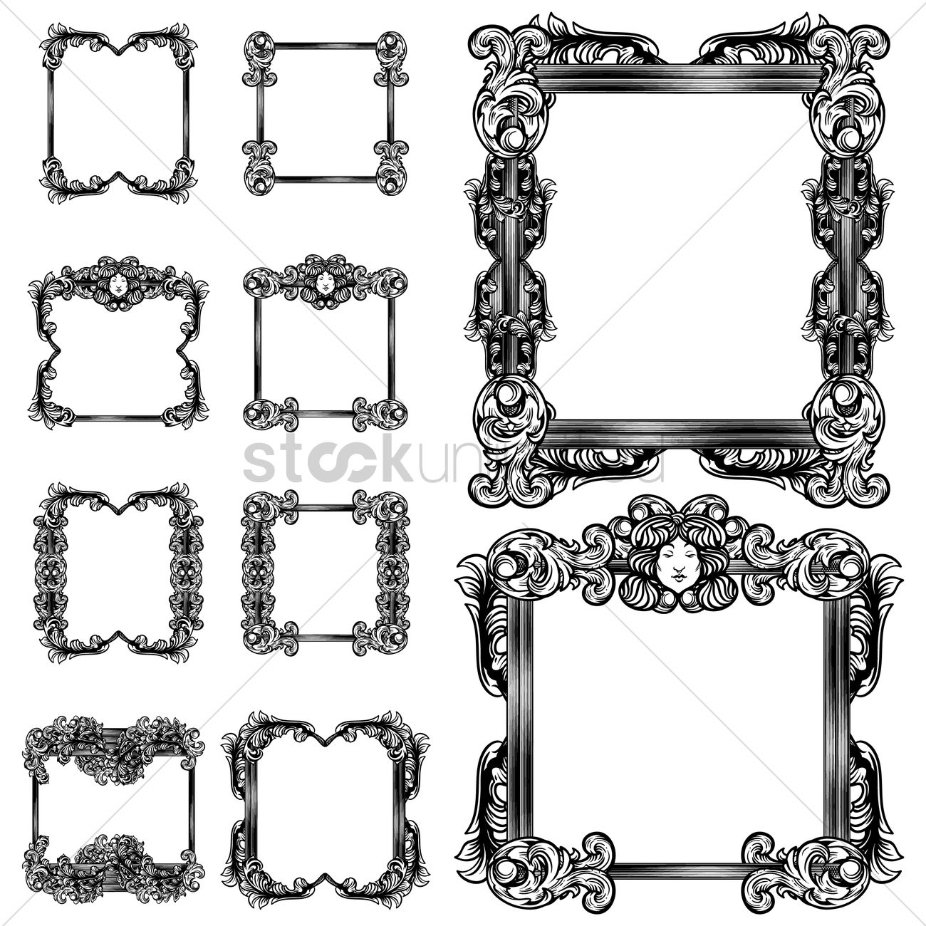 Collection of unique retro frames Vector Image - 1871888 ...
