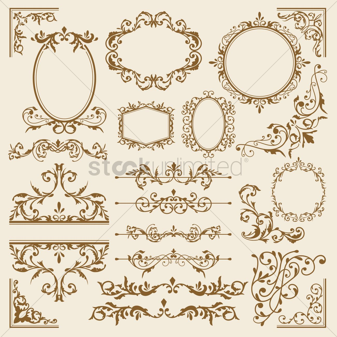 Collection of victorian vintage frames Vector Image - 1871476 ...