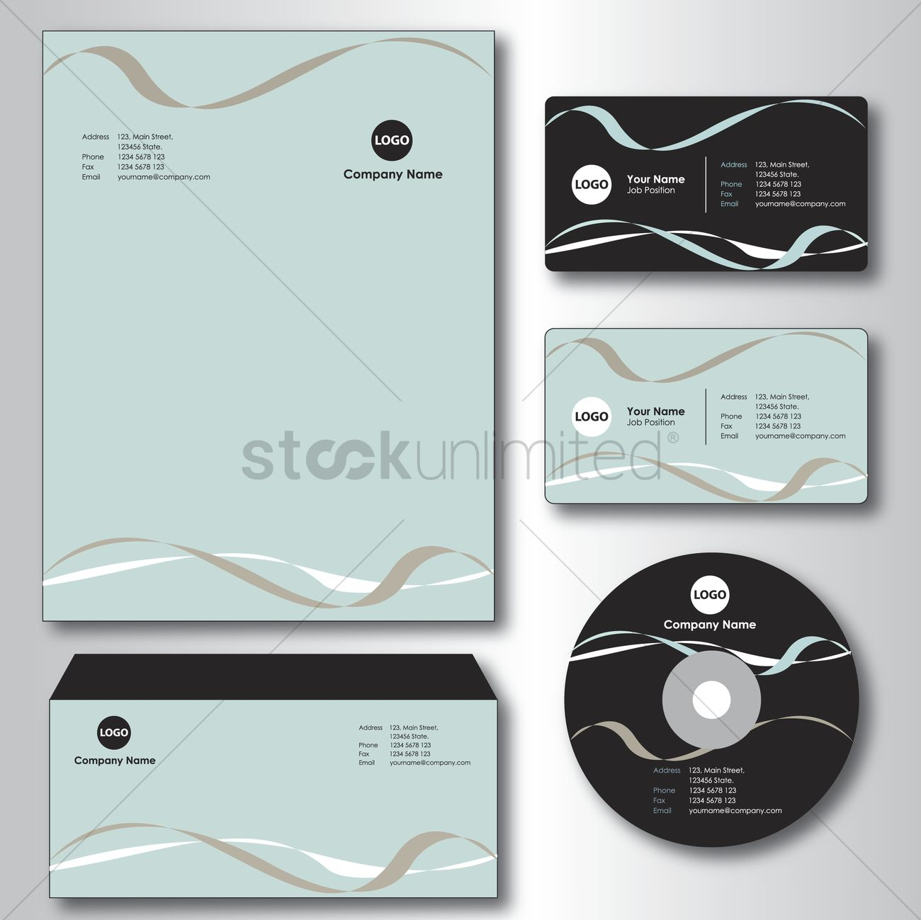 Company paper, envelope, business card and cd Vector Image - 1235428 ...