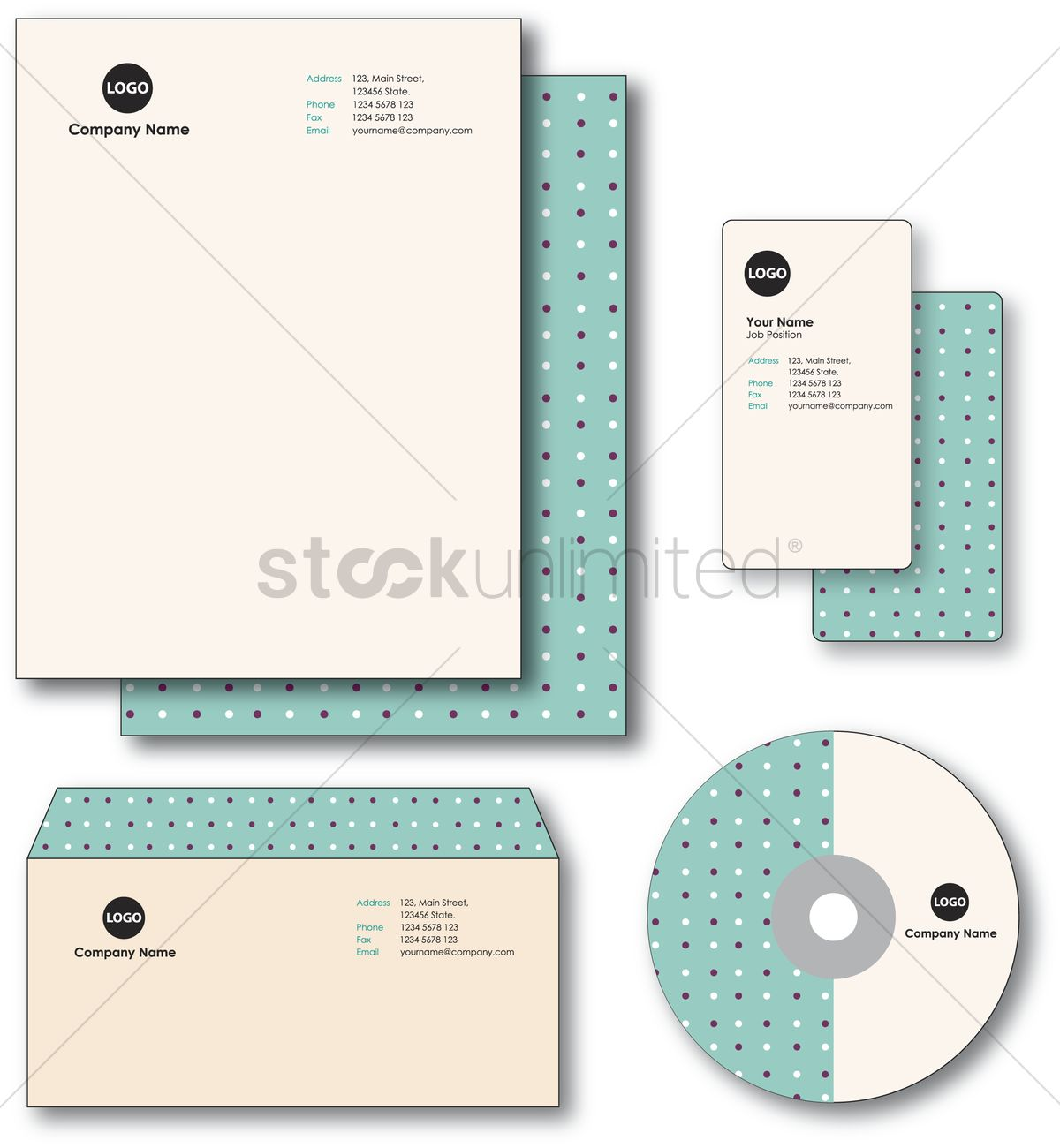 Company paper, envelope, business card and cd Vector Image - 1235440
