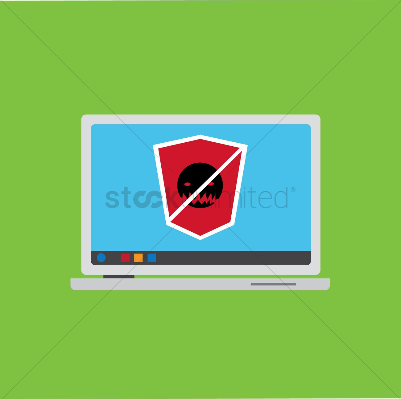 Computer antivirus on a laptop Vector Image - 1263600