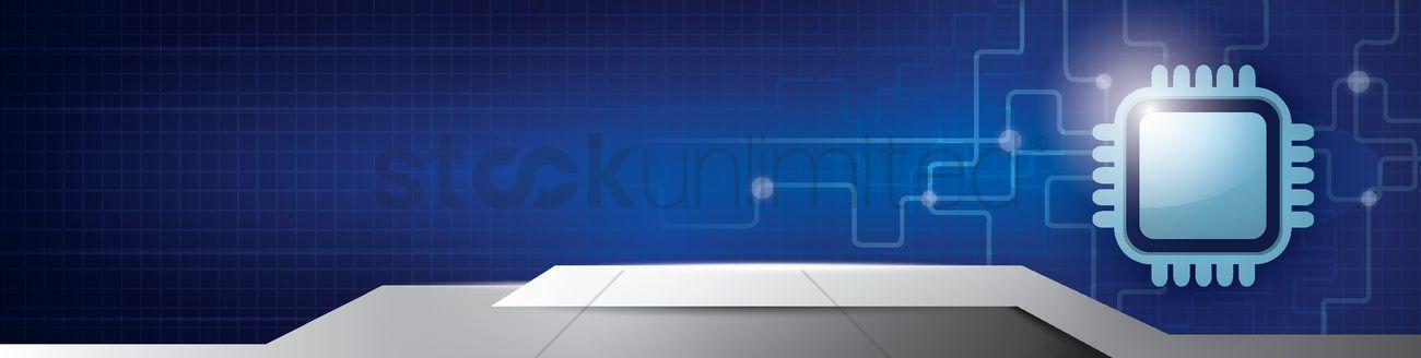 Vector Illustration Web Designs: Computer Chip Web Banner Design Vector Image