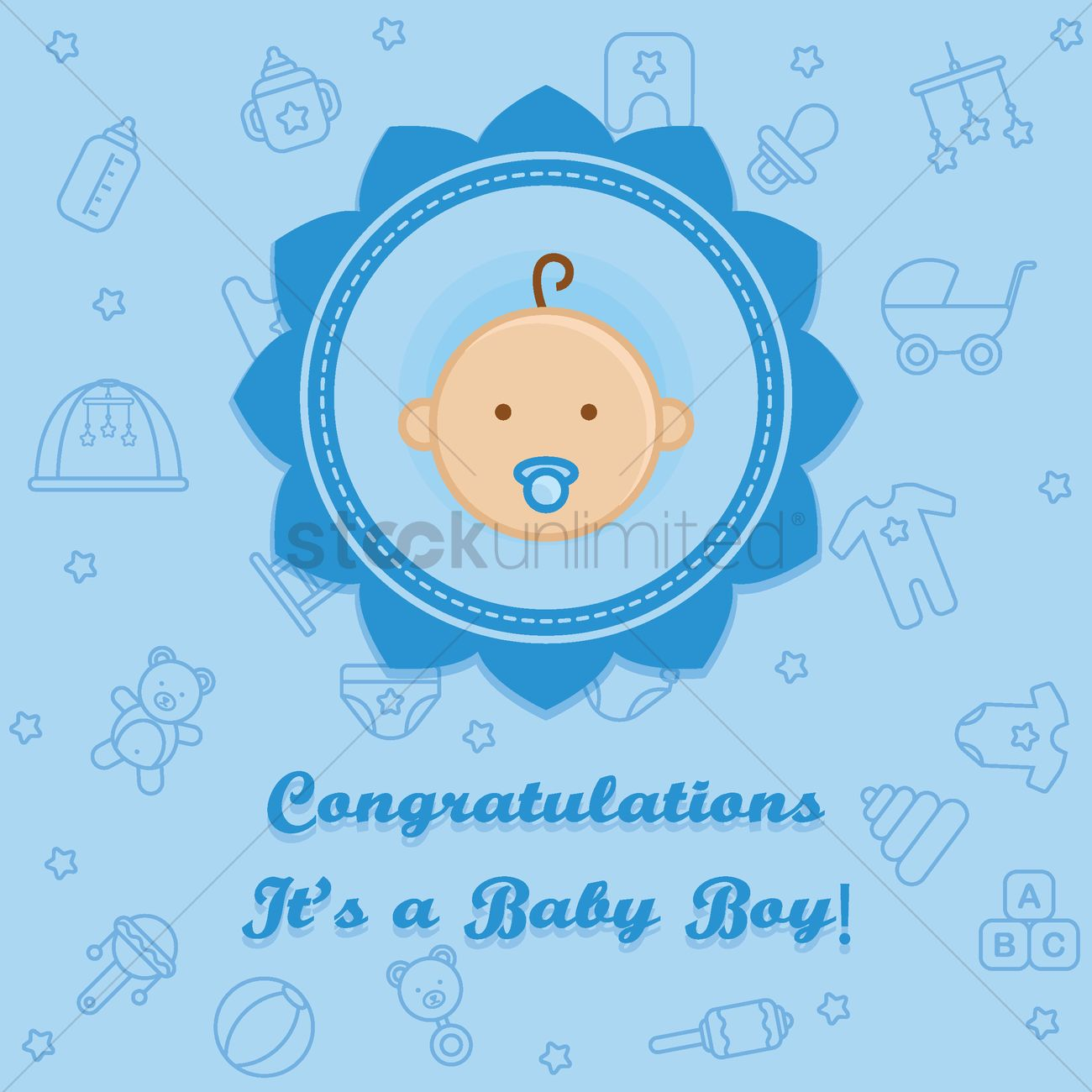 congratulations it s a baby boy card ベクタークリップアート
