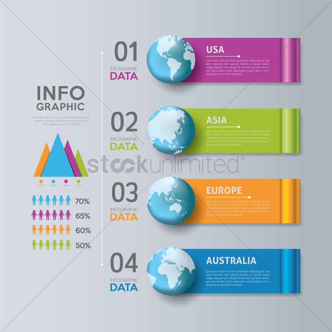 Continents infographic background Vector Image - 1789696 ...