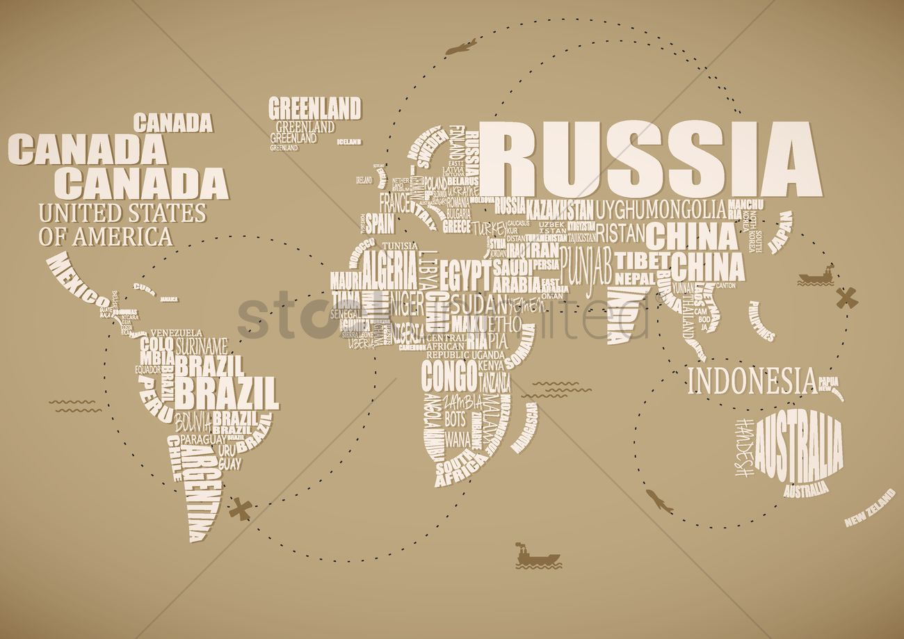 Country word cloud in the shape of a map vector image 1507496 country word cloud in the shape of a map vector graphic gumiabroncs Choice Image