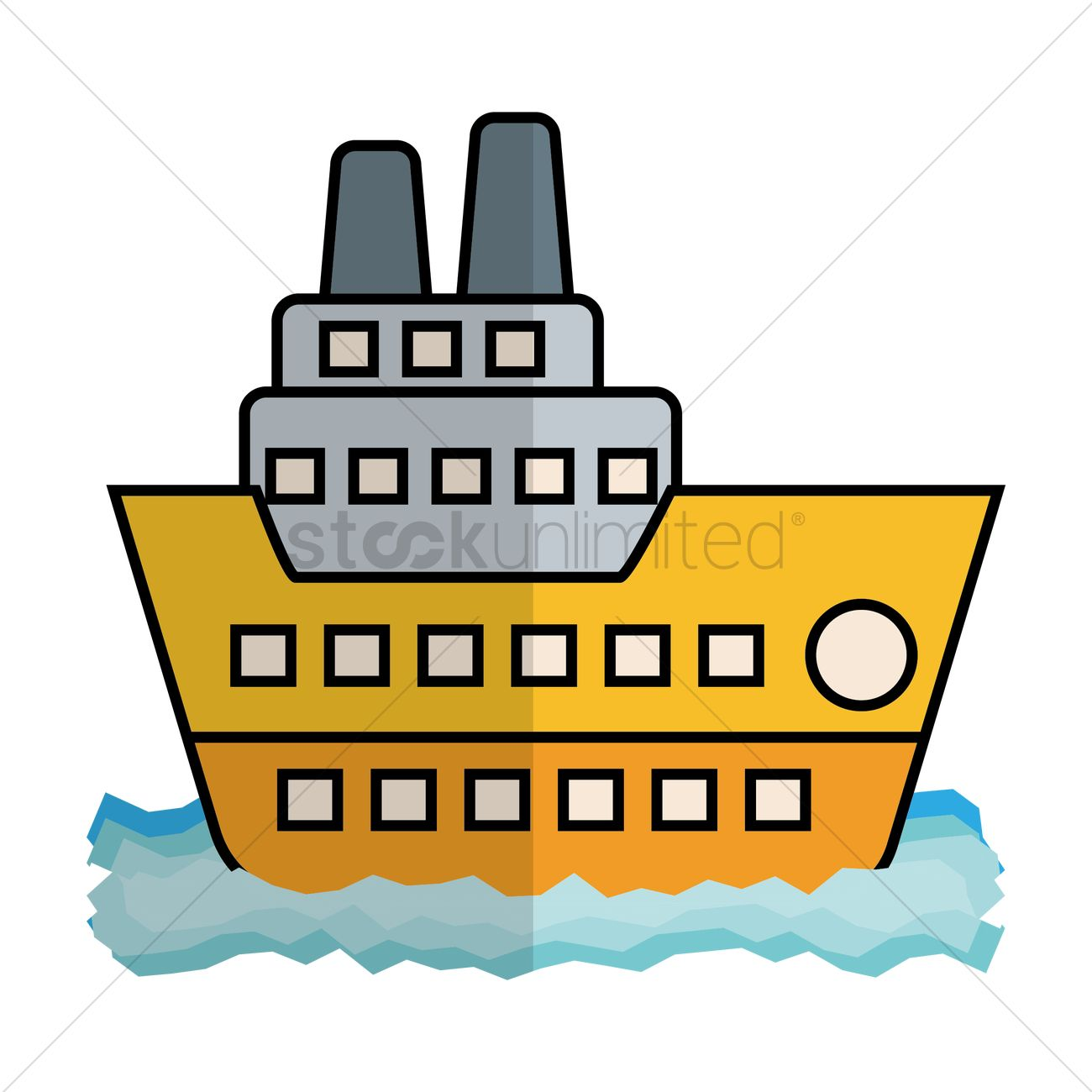 Free Cruise Ship Side View Vector Graphic