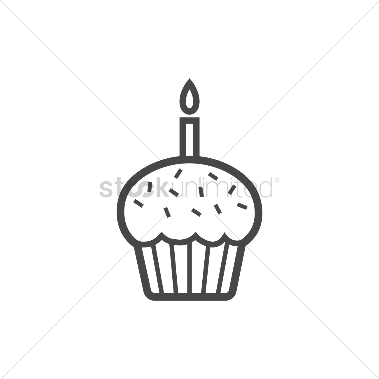 Cupcake with candle icon Vector Image - 1978912 ...