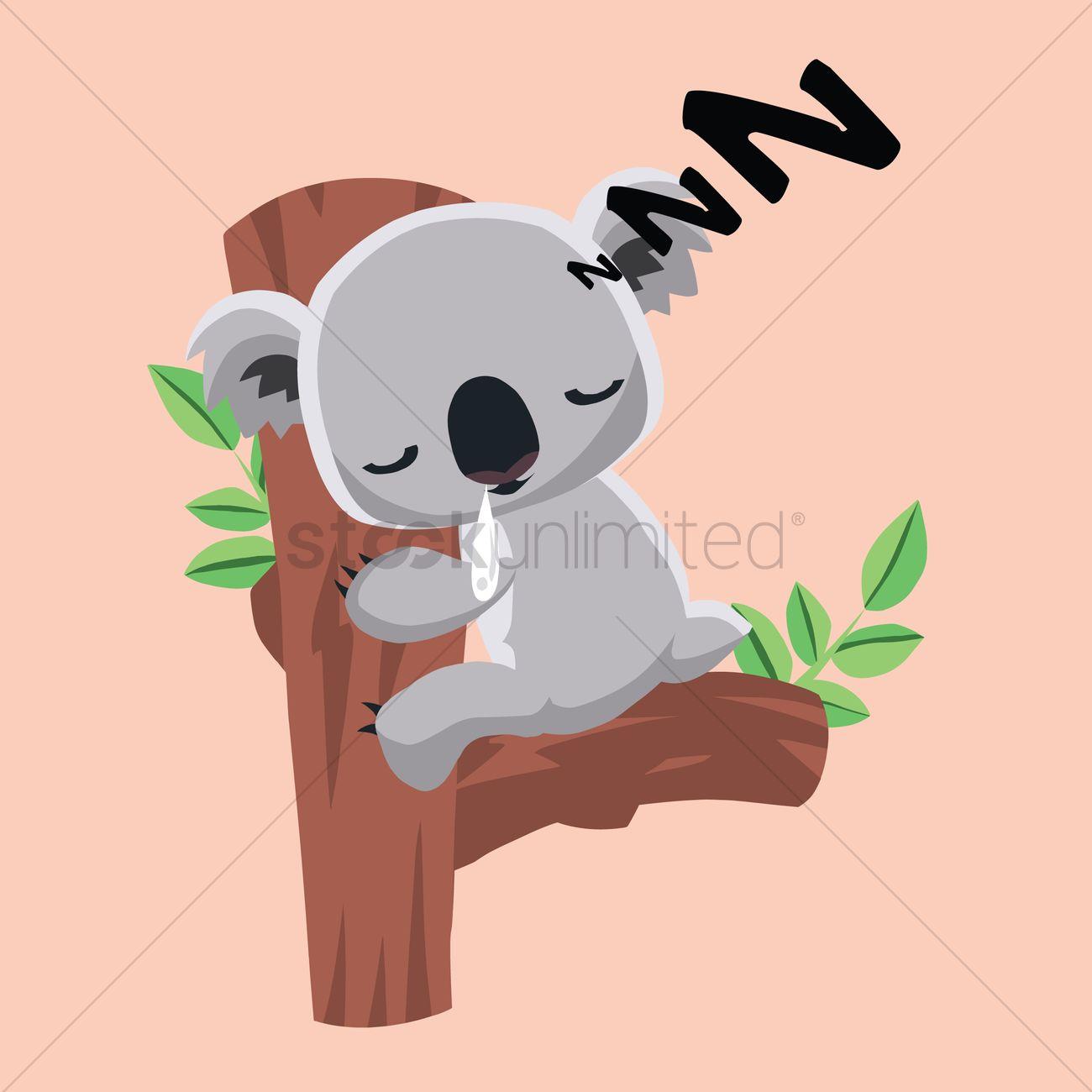 Free Cute koala bear sleeping on a tree trunk Vector Image