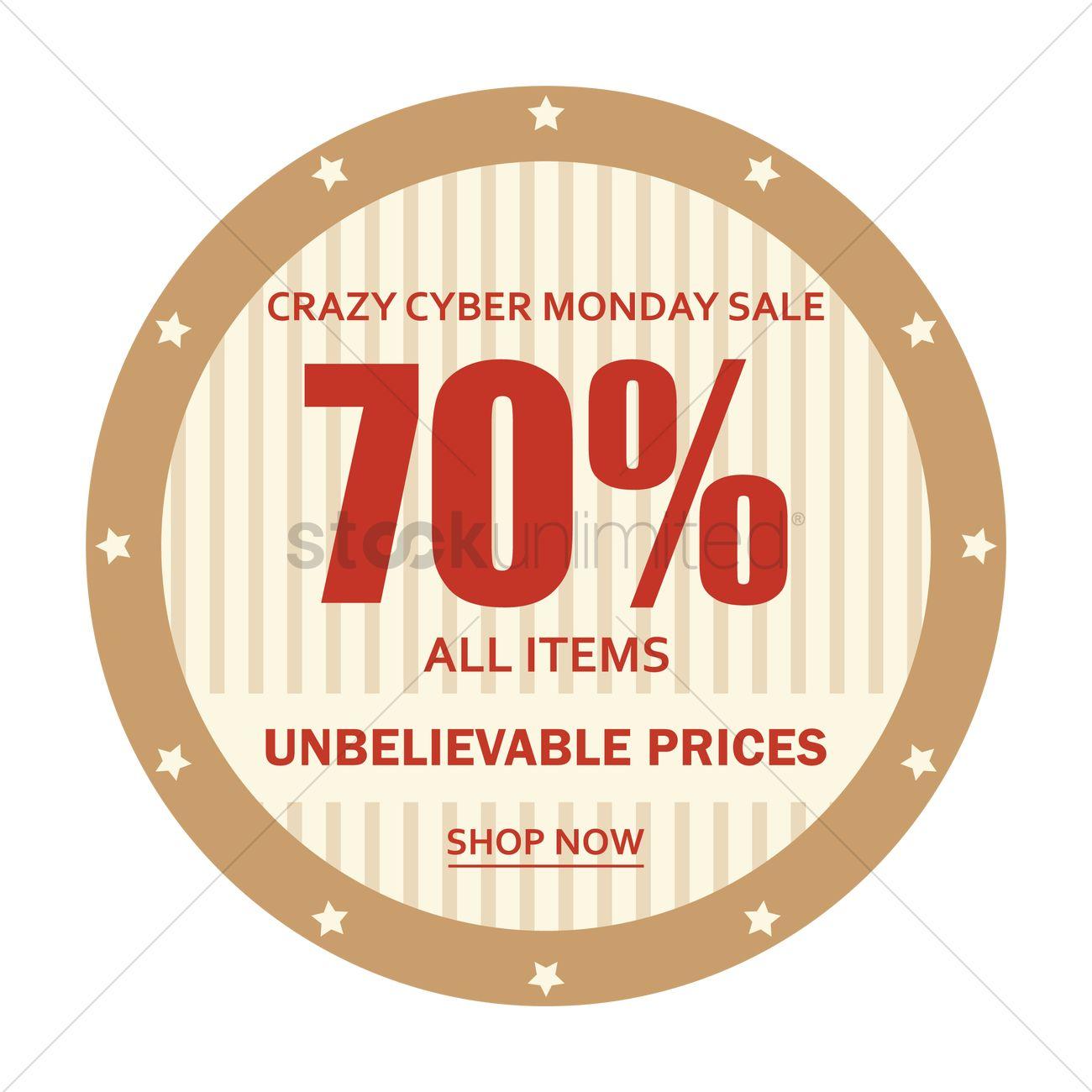 cfcf1e10dfa Cyber monday sale sticker Vector Image - 1707804 | StockUnlimited