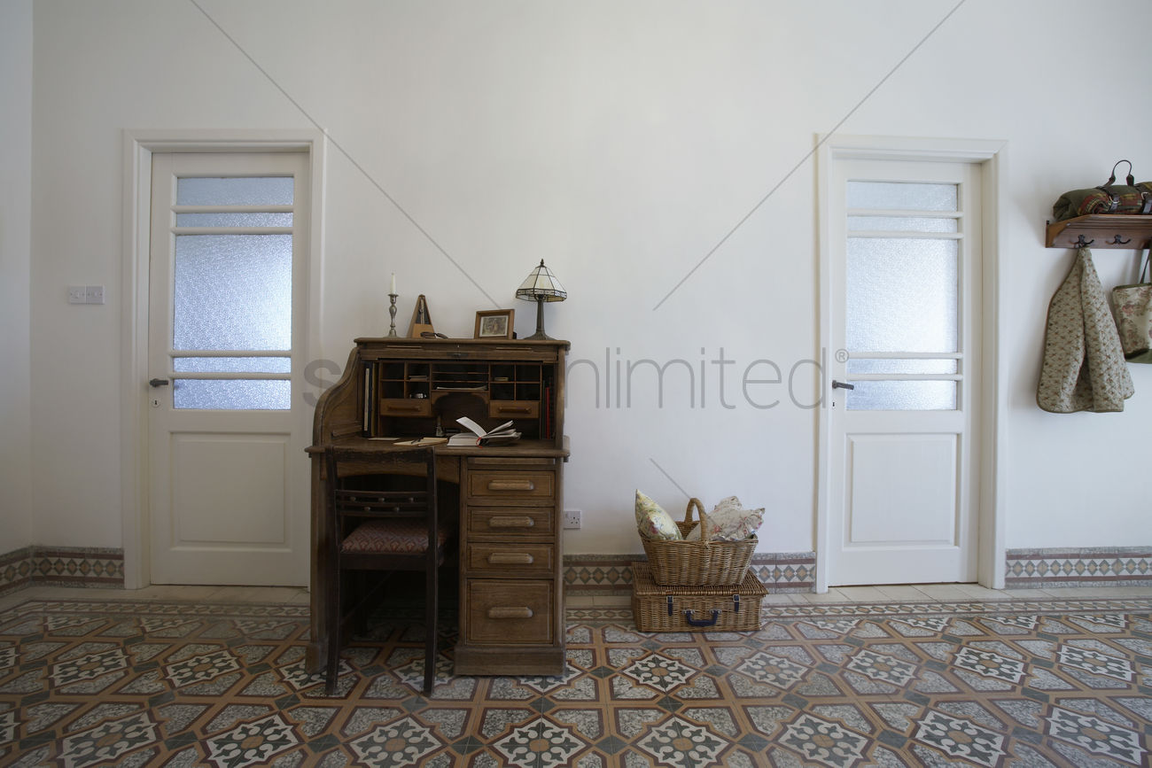 Cyprus writing desk in entrance hall of 1950s town house Stock