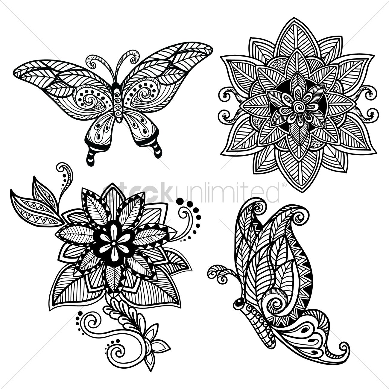 Decorative Butterfly And Flower Set Vector Graphic