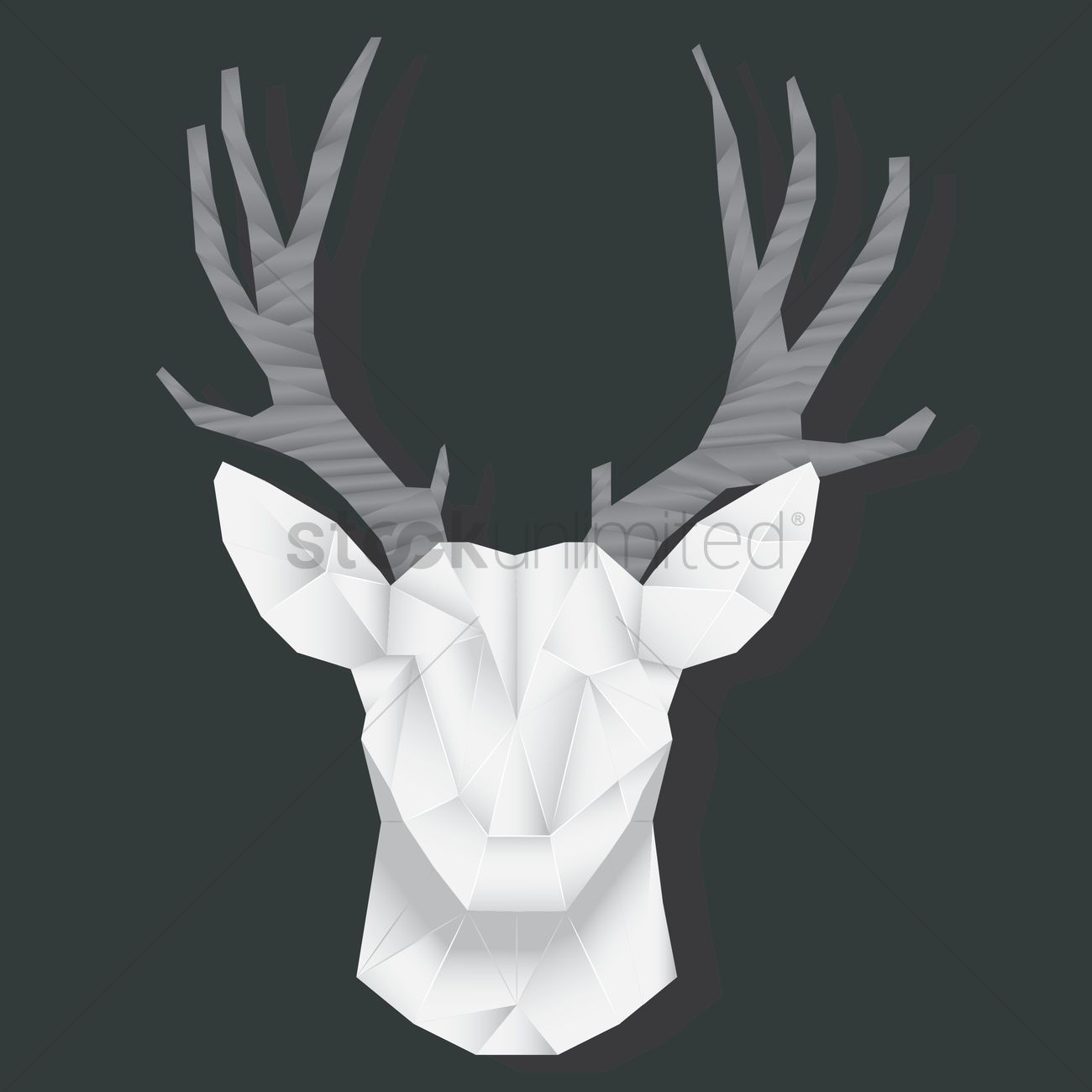 Deer Face Origami Vector Graphic