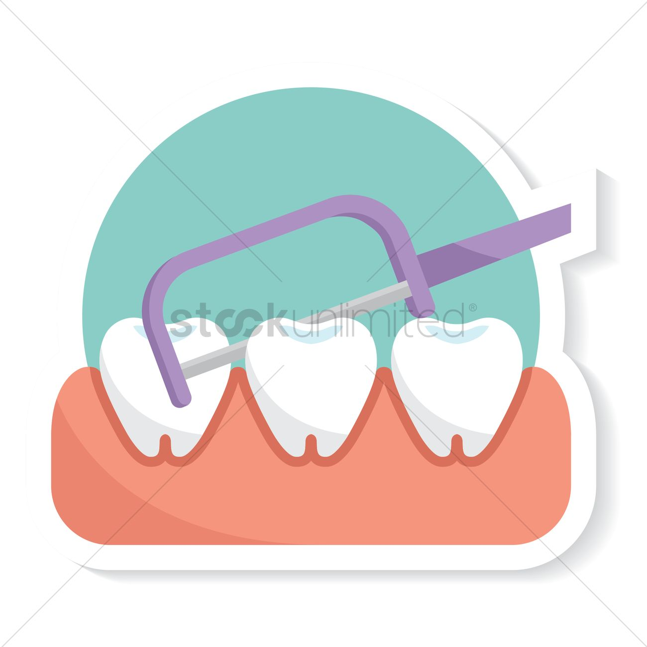 Dental Floss With Toothpick Vector Graphic