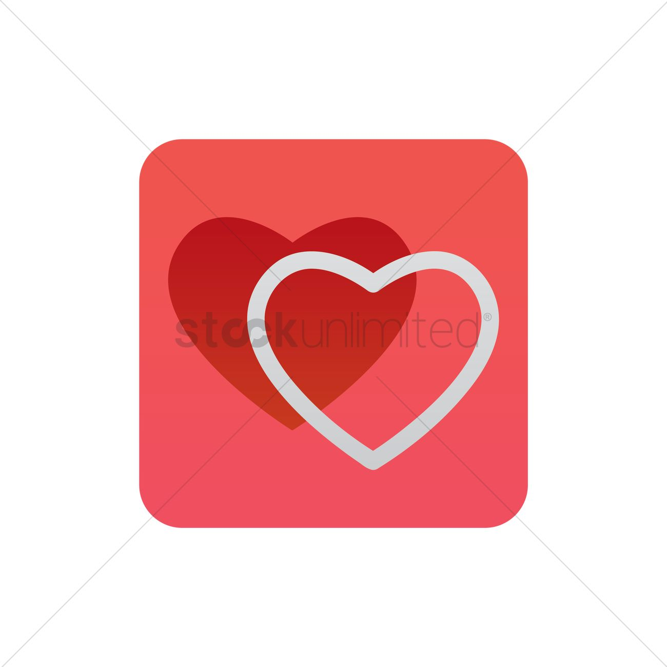 Double Hearts Icon Vector Image 1947364 Stockunlimited