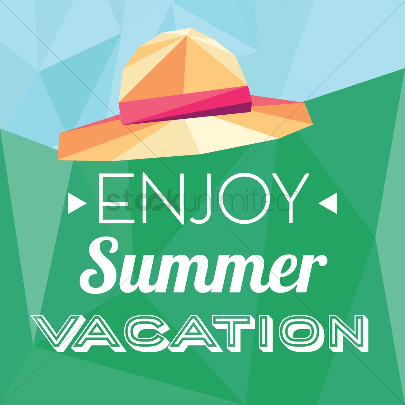 Enjoy Summer Vacation Card Vector Graphic