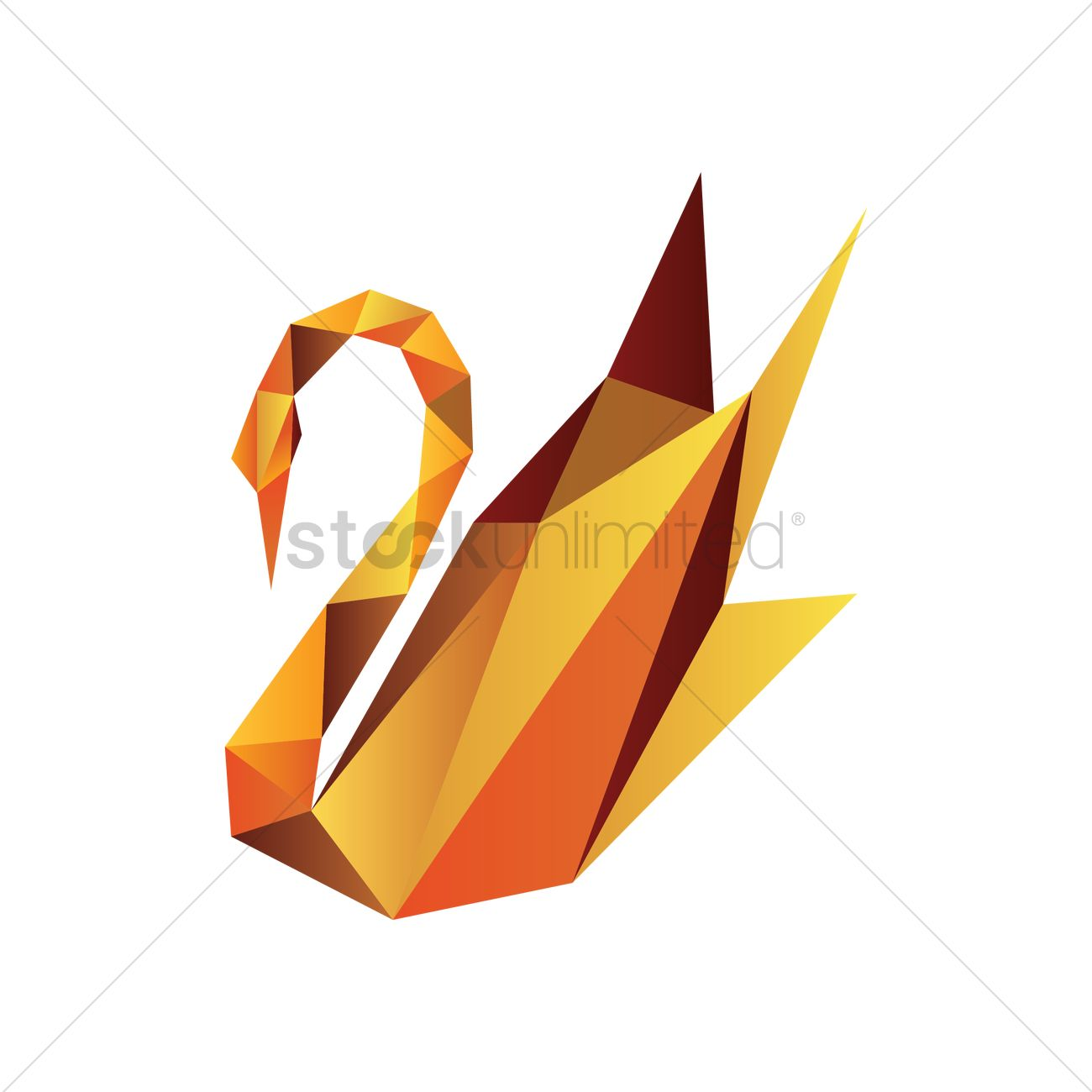 Faceted Swan Vector Graphic