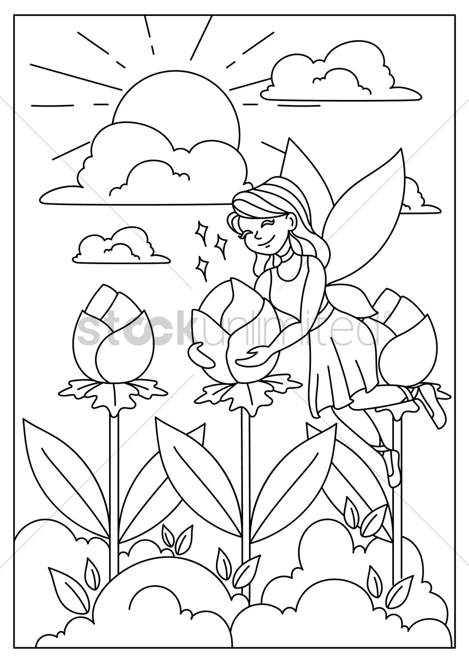 Garden drawing pictures - Fairy In Flower Garden Vector Graphic