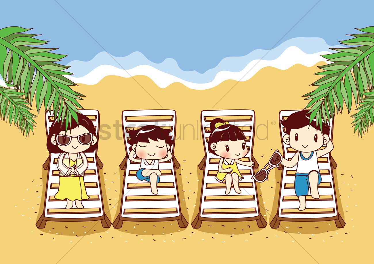 Family Relaxing On Beach Vector Graphic
