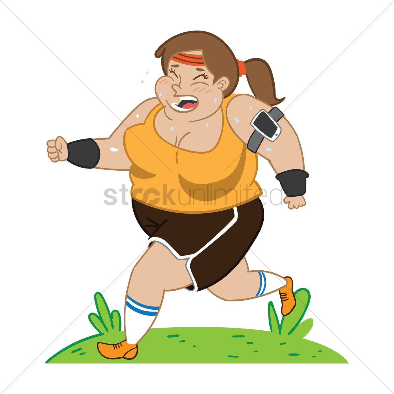 Unique Clipart Of Young Sporty Woman Jogging Or Running Isolated On White K7003982 - Search Clip Art ...
