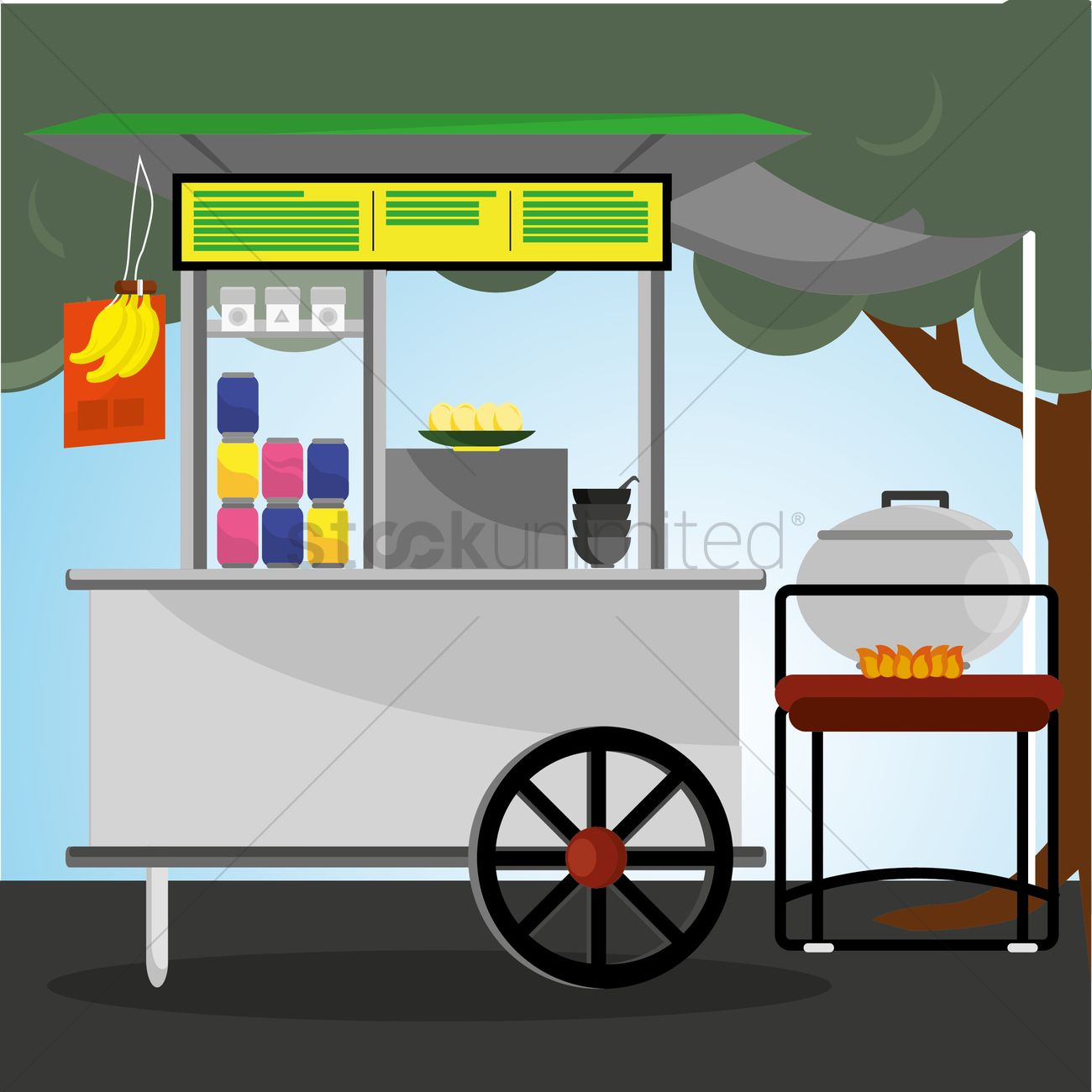 food stall cart with canopy vector graphic  sc 1 st  StockUnlimited & Food stall cart with canopy Vector Image - 1409984 | StockUnlimited