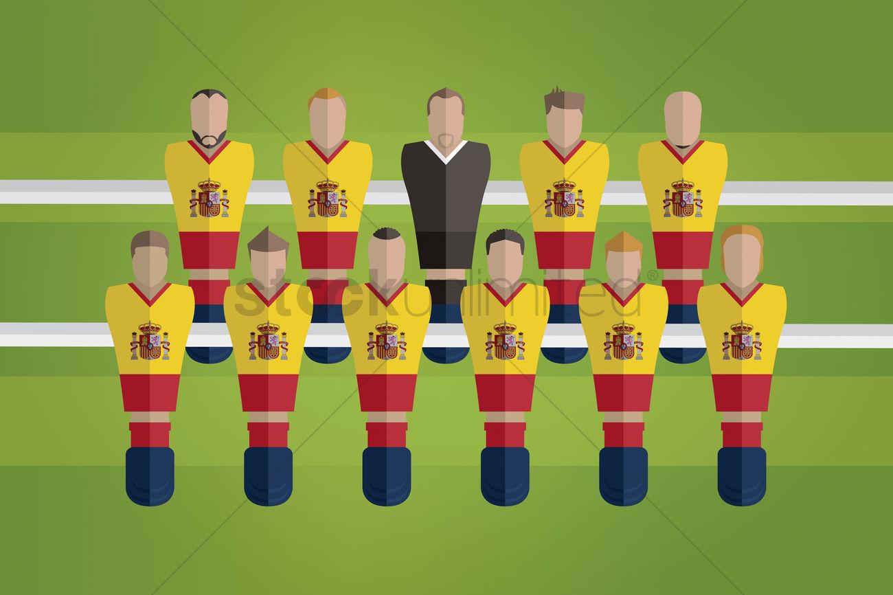 a8aa2280d5d foosball figurines represent spain football team vector graphic. Vector  Illustration