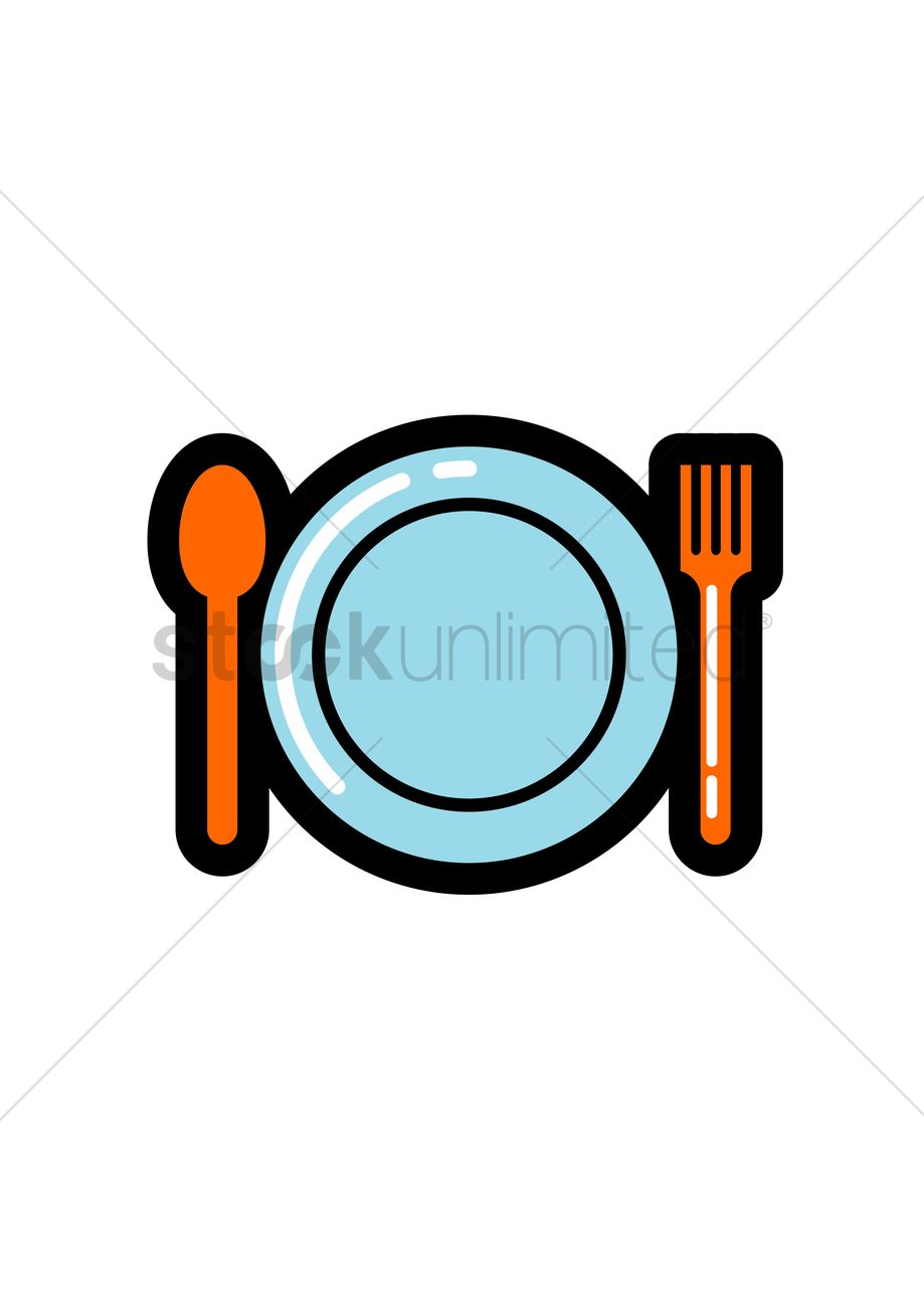 Free Fork And Spoon With A Plate Vector Image 1245124 Stockunlimited