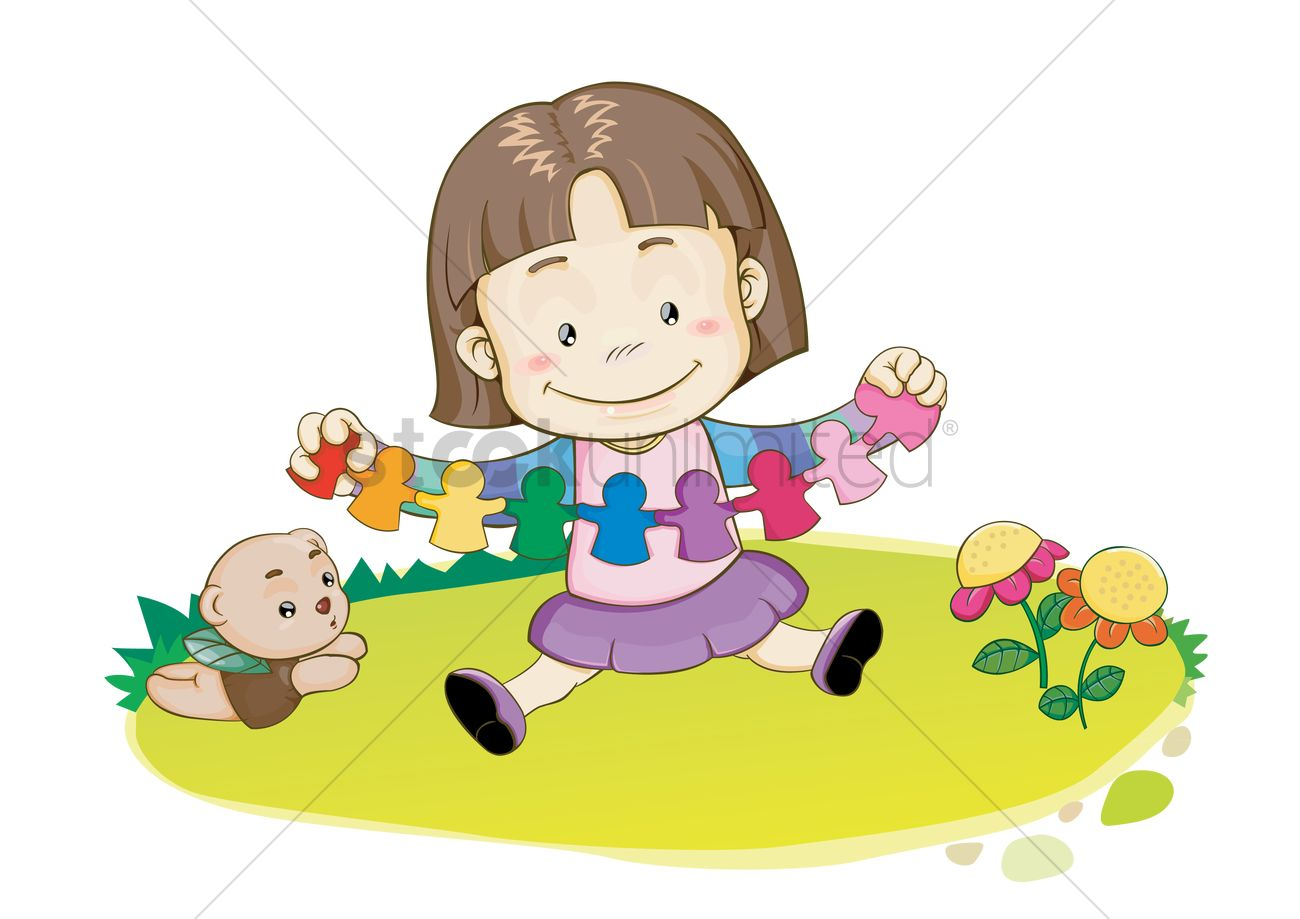 Girl Playing With Paper Craft Vector Image 1504956 Stockunlimited