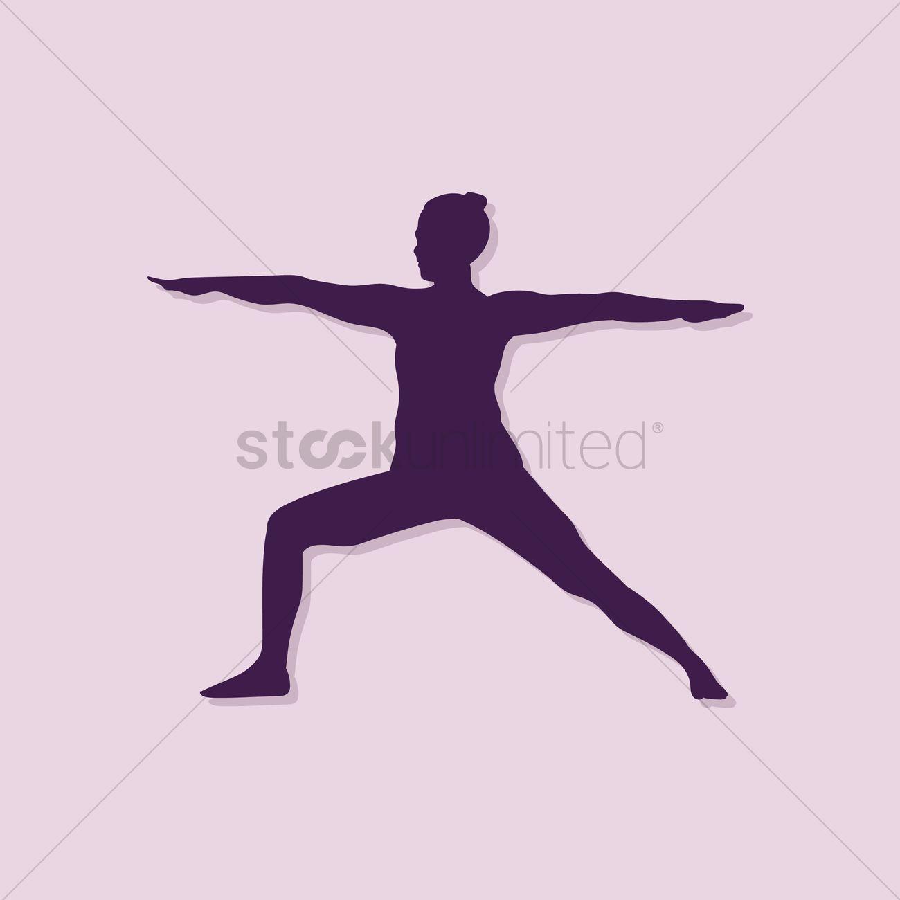 Girl Silhouette Practising Yoga In Warrior Ii Pose Vector Graphic
