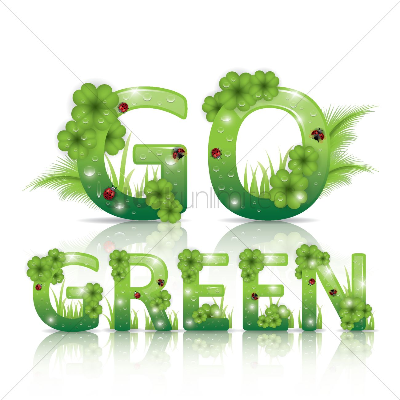 Go Green Lettering Design Vector Graphic