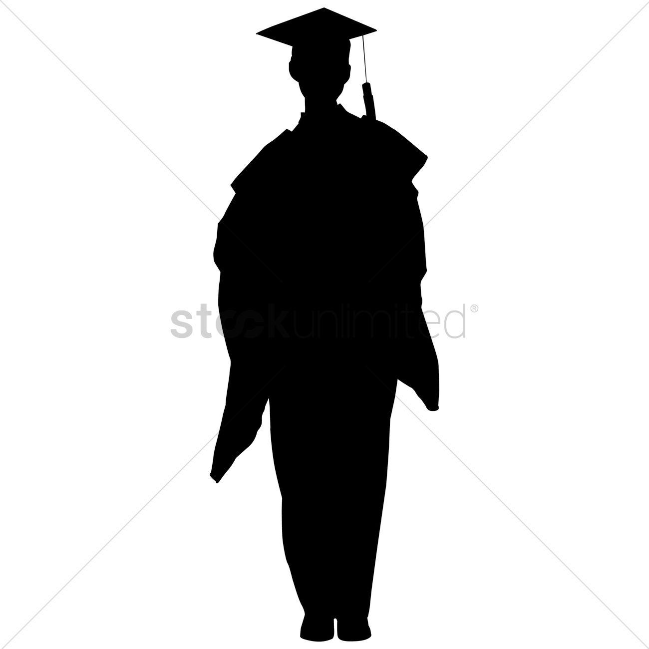 graduate silhouette vector graphic