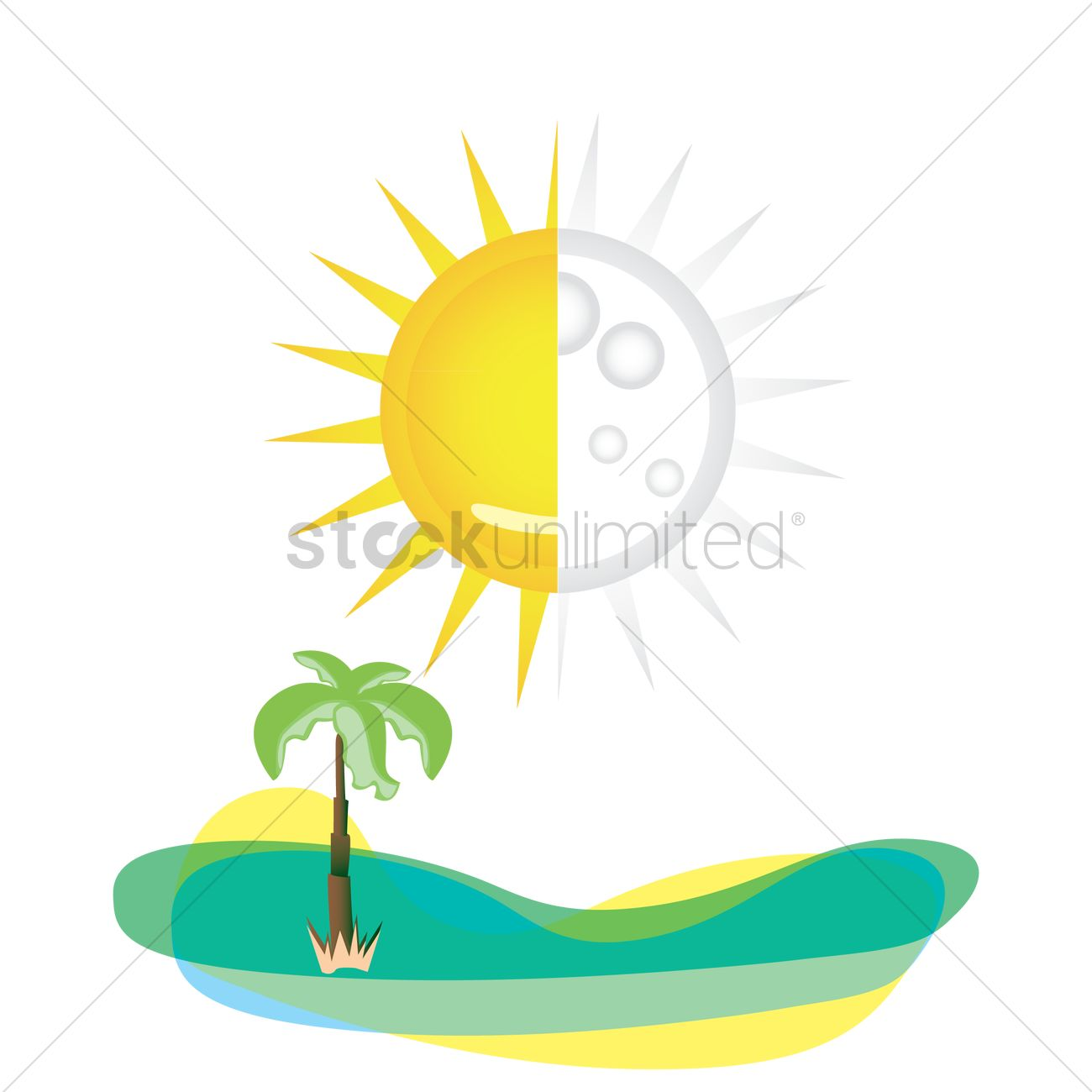 Half Sun With Palm Tree Vector Image 1290032 Stockunlimited