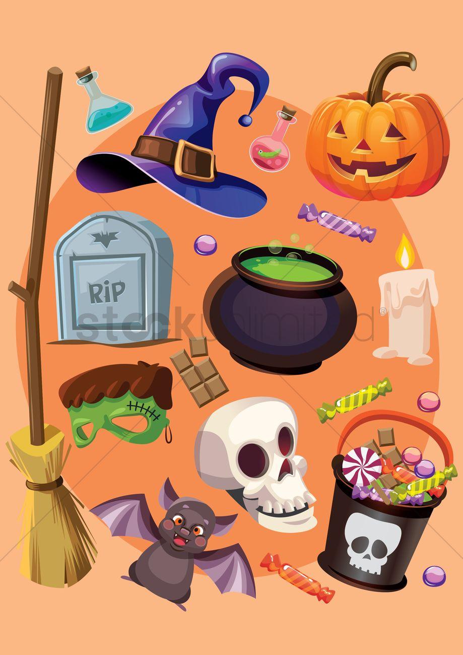 halloween items vector graphic - Halloween Items