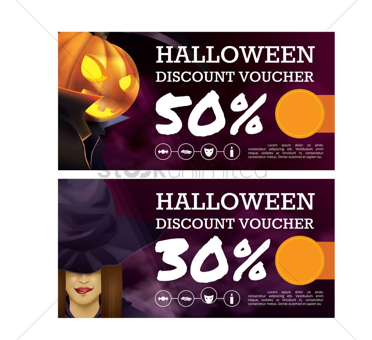Halloween Voucher Design Vector Graphic  Discount Voucher Design