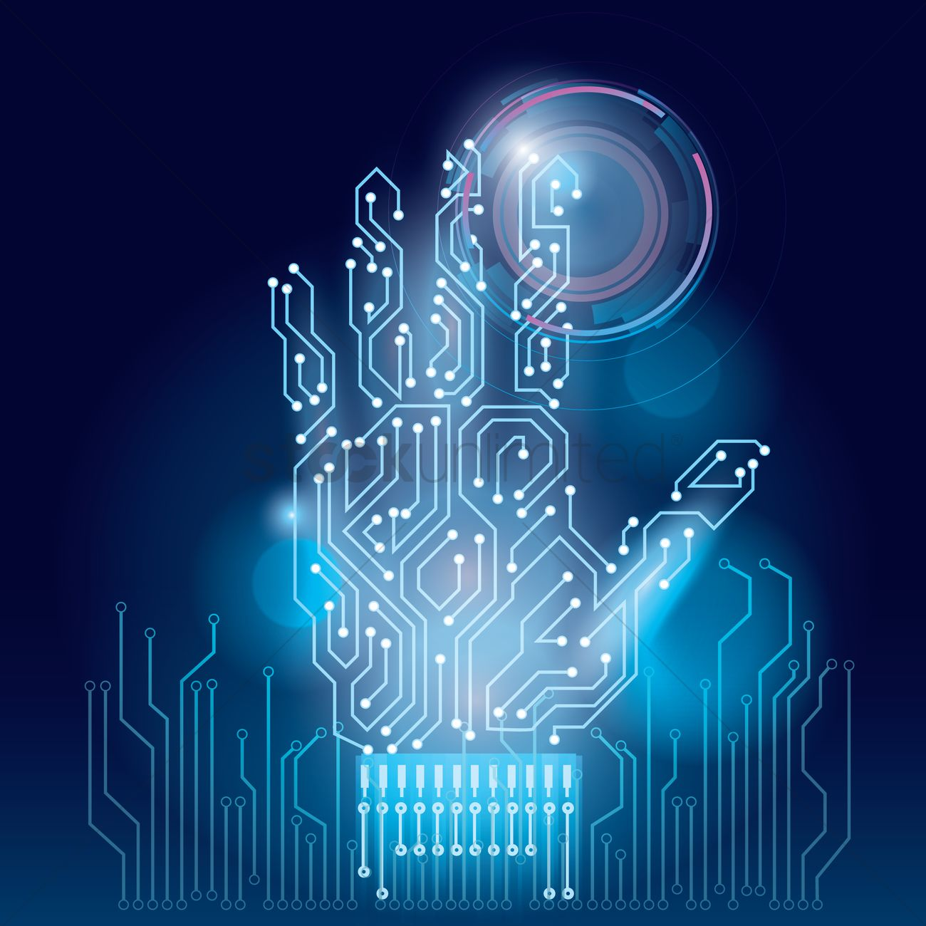 hand on circuit board wallpaper vector image 1807672