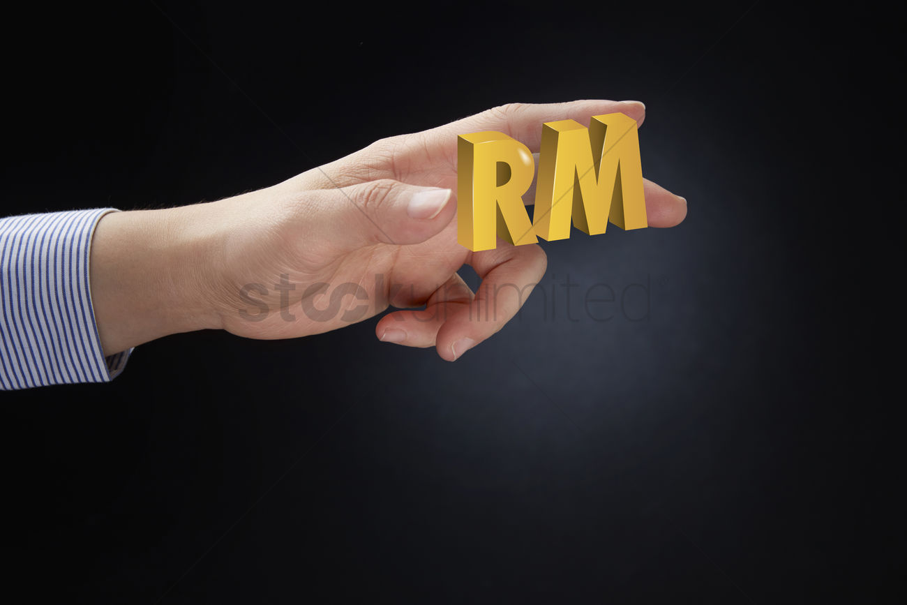 Hand Presenting Ringgit Malaysia Currency Symbol Concept Stock Photo
