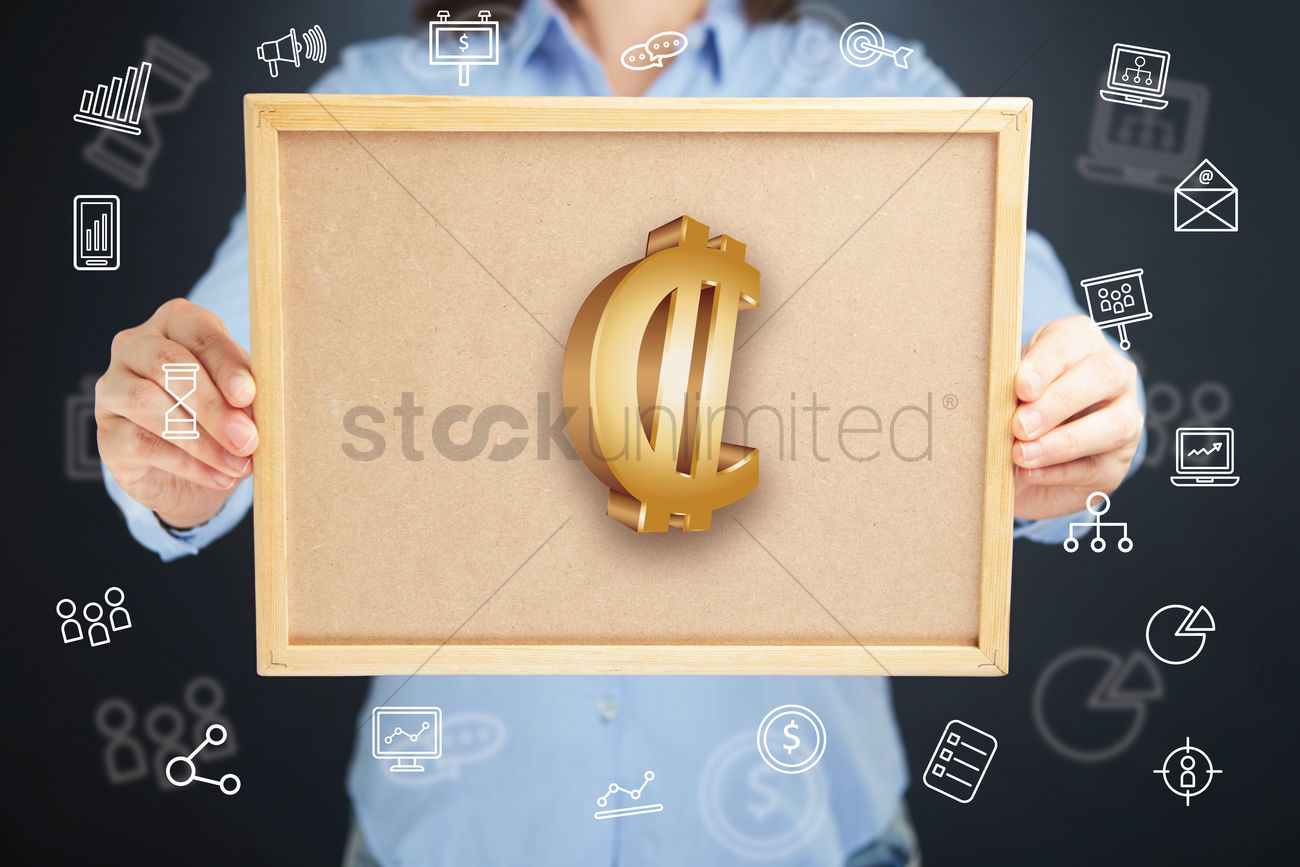 Hands Presenting Costa Rican Colon Currency Symbol On Cork Board