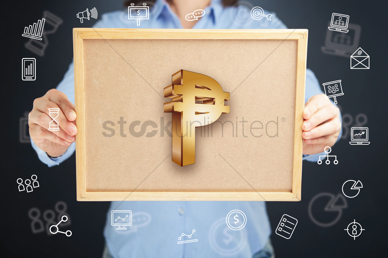Hands Presenting Cuban Peso Currency Symbol On Cork Board Concept