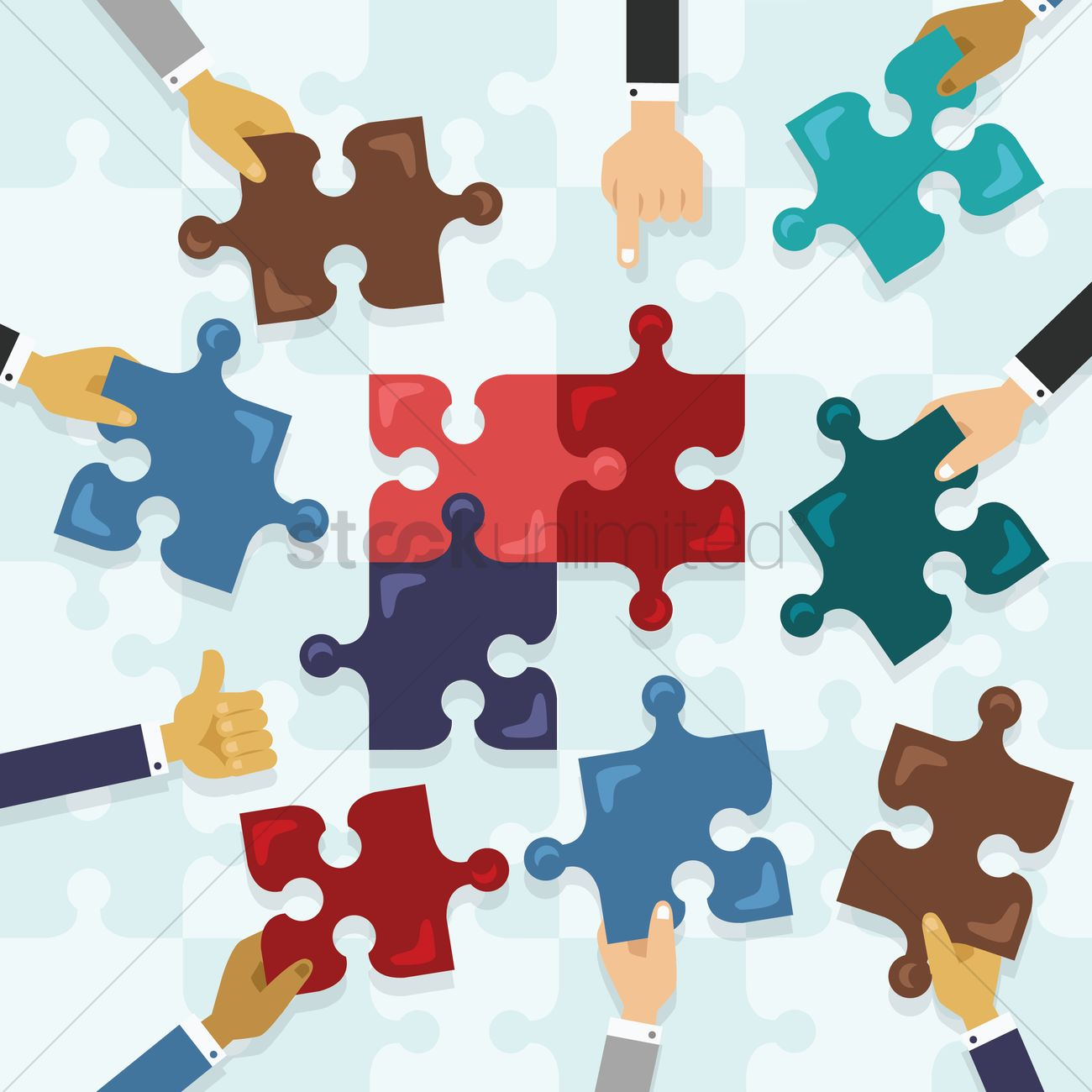 Hands solving jigsaw puzzles Vector Image - 1275552 ...