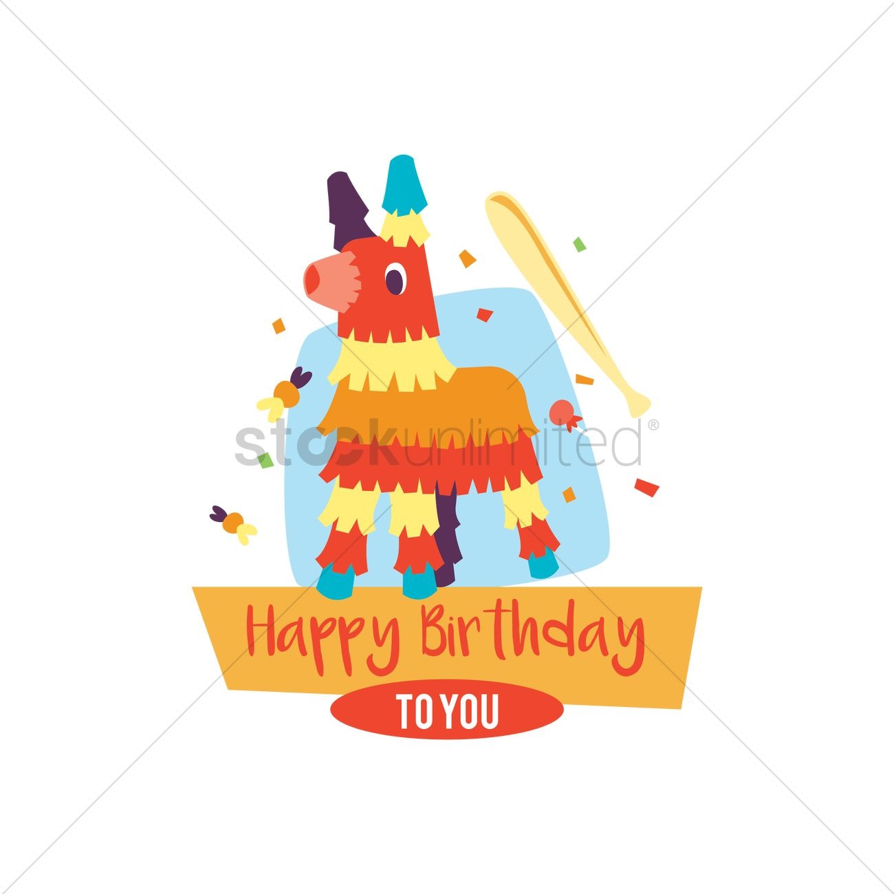 Happy birthday card with pinata vector image 1803156 stockunlimited happy birthday card with pinata vector graphic stock clipart bookmarktalkfo Gallery