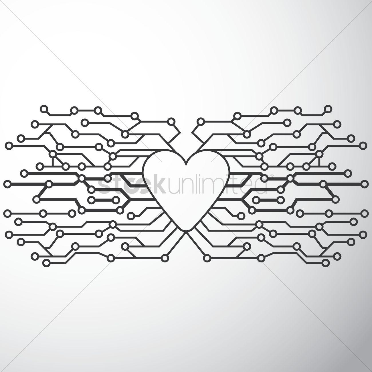 Heart shape circuit design Vector Image - 1648496 | StockUnlimited