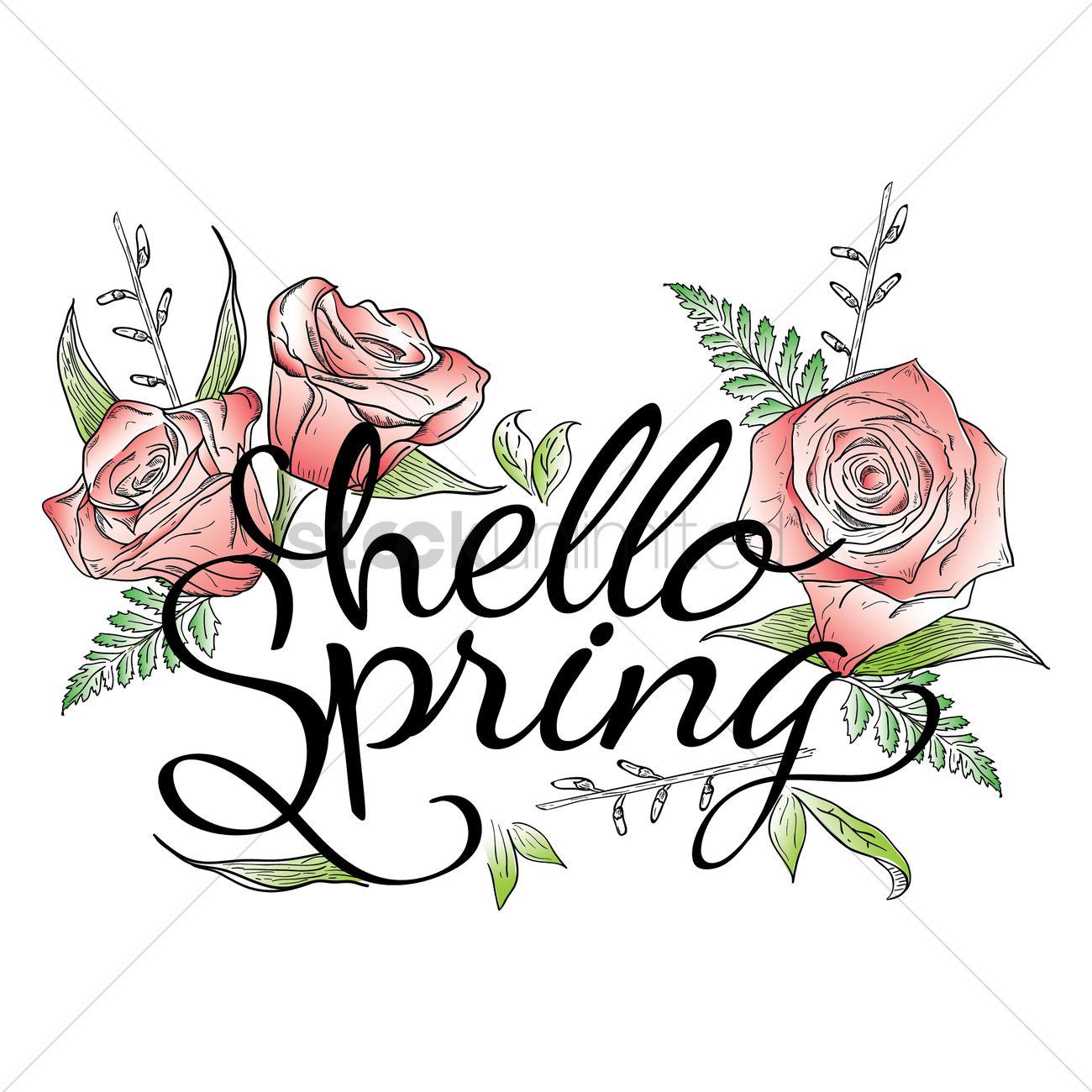 Superieur Hello Spring Card Design Vector Graphic