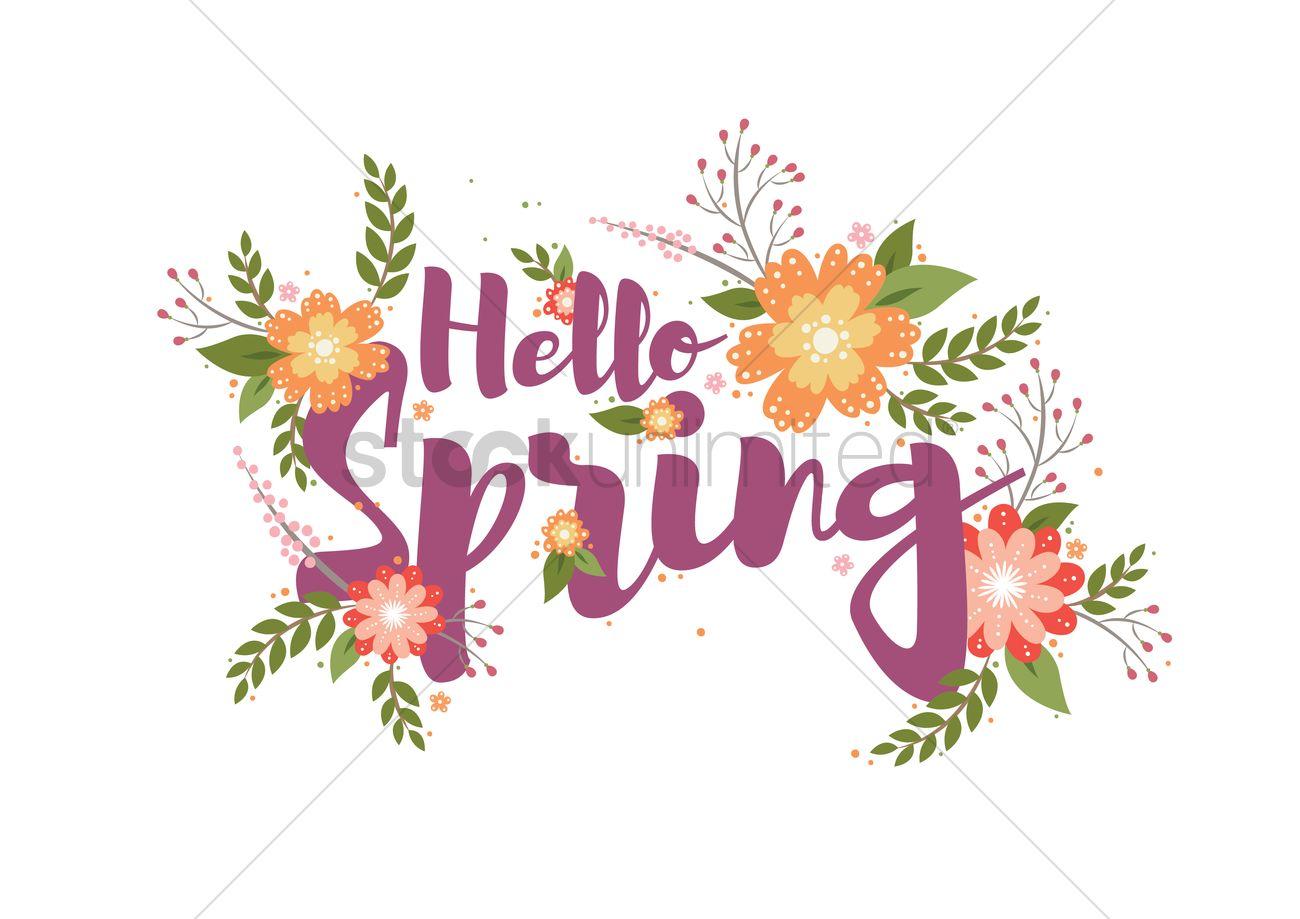 Bon Hello Spring Card Design Vector Graphic