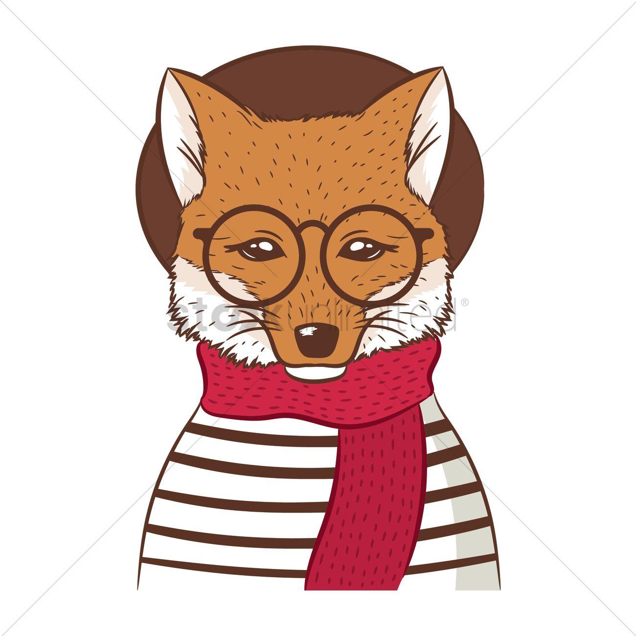 f6ea27ead936 Hipster fox Vector Image - 2005400
