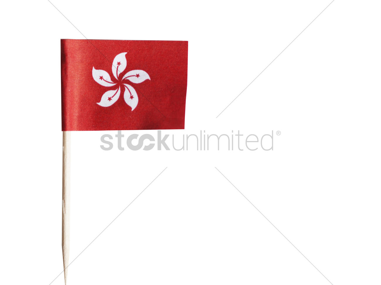 Hong Kong Flag In Toothpick Against White Background Stock Photo