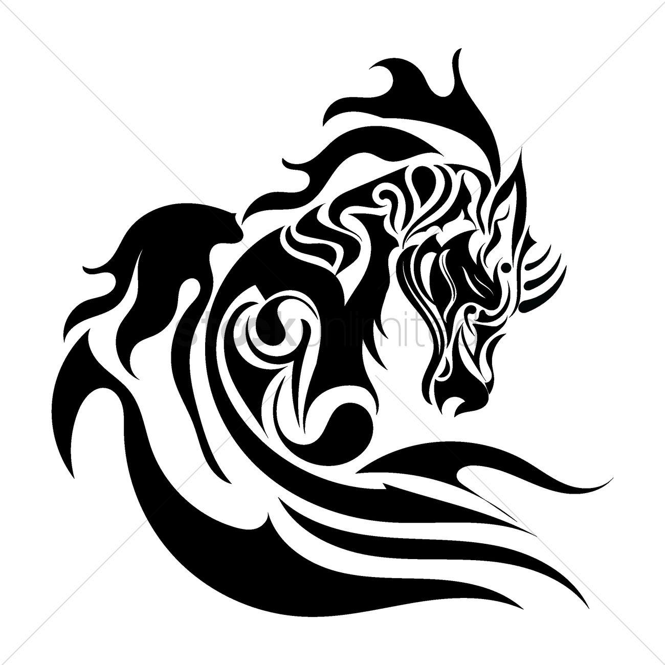 Horse Tattoo Design Vector Image 1433368 Stockunlimited