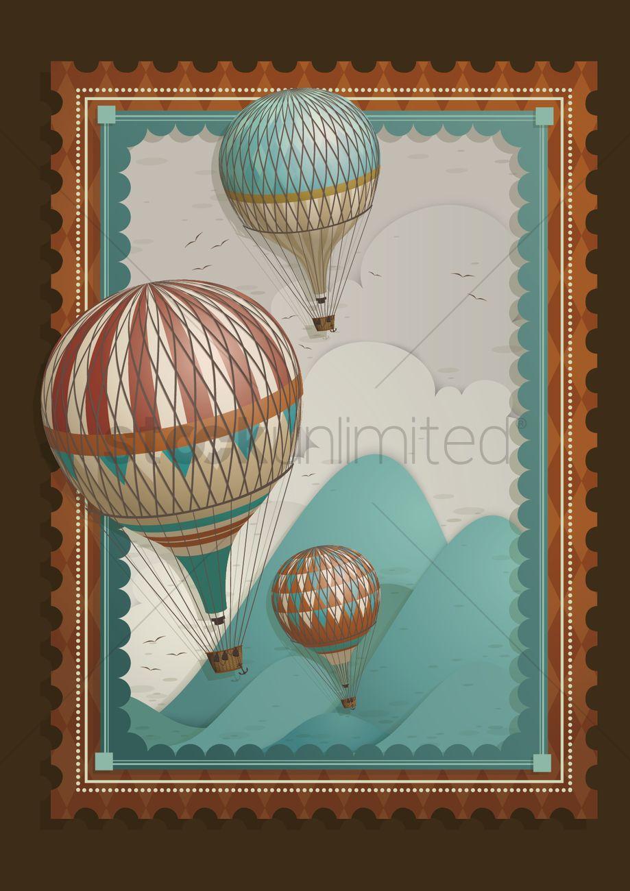 Hot Air Balloon Frame Vector Image 1481756 Stockunlimited
