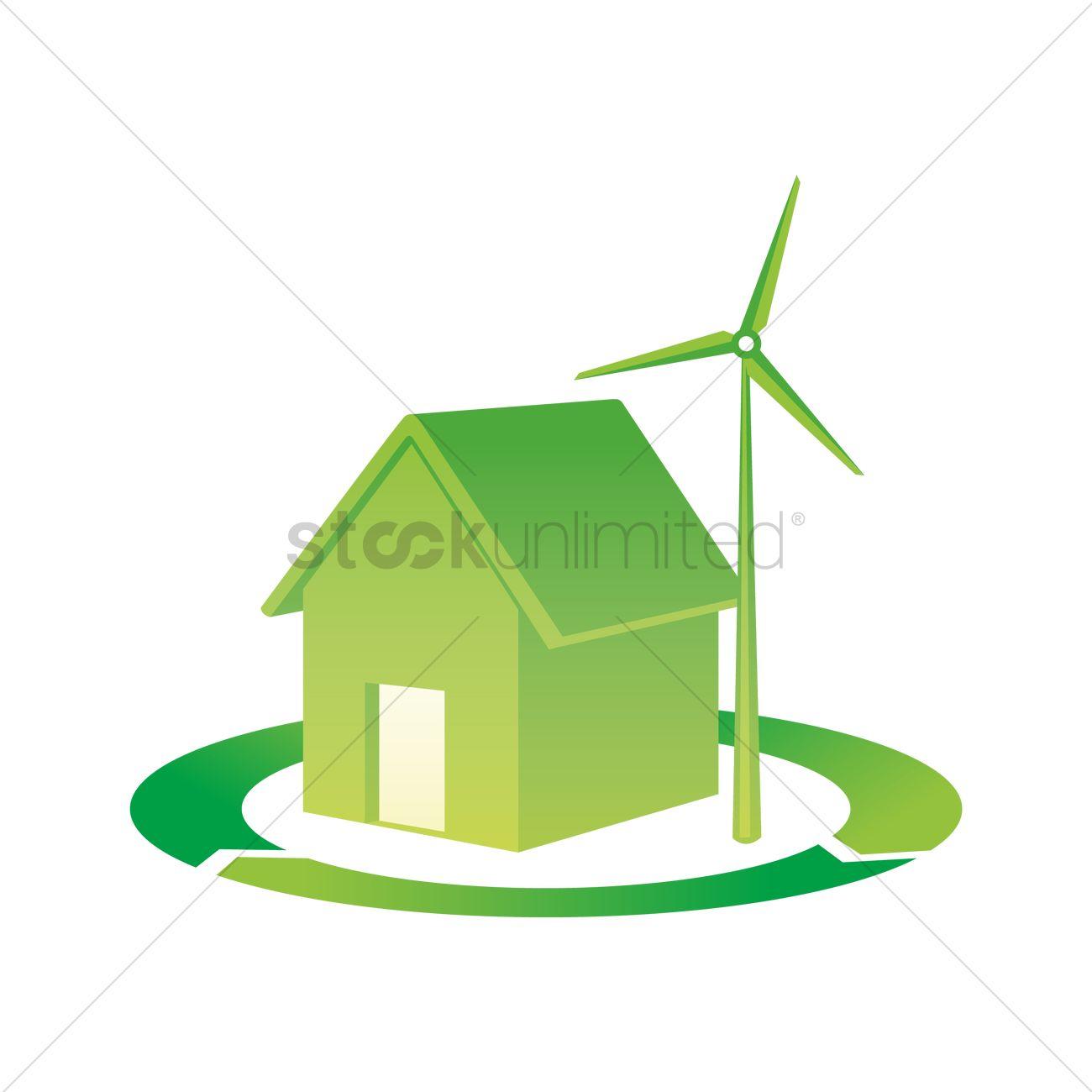 House And Wind Turbine On Renewable Symbol Vector Image 1413172