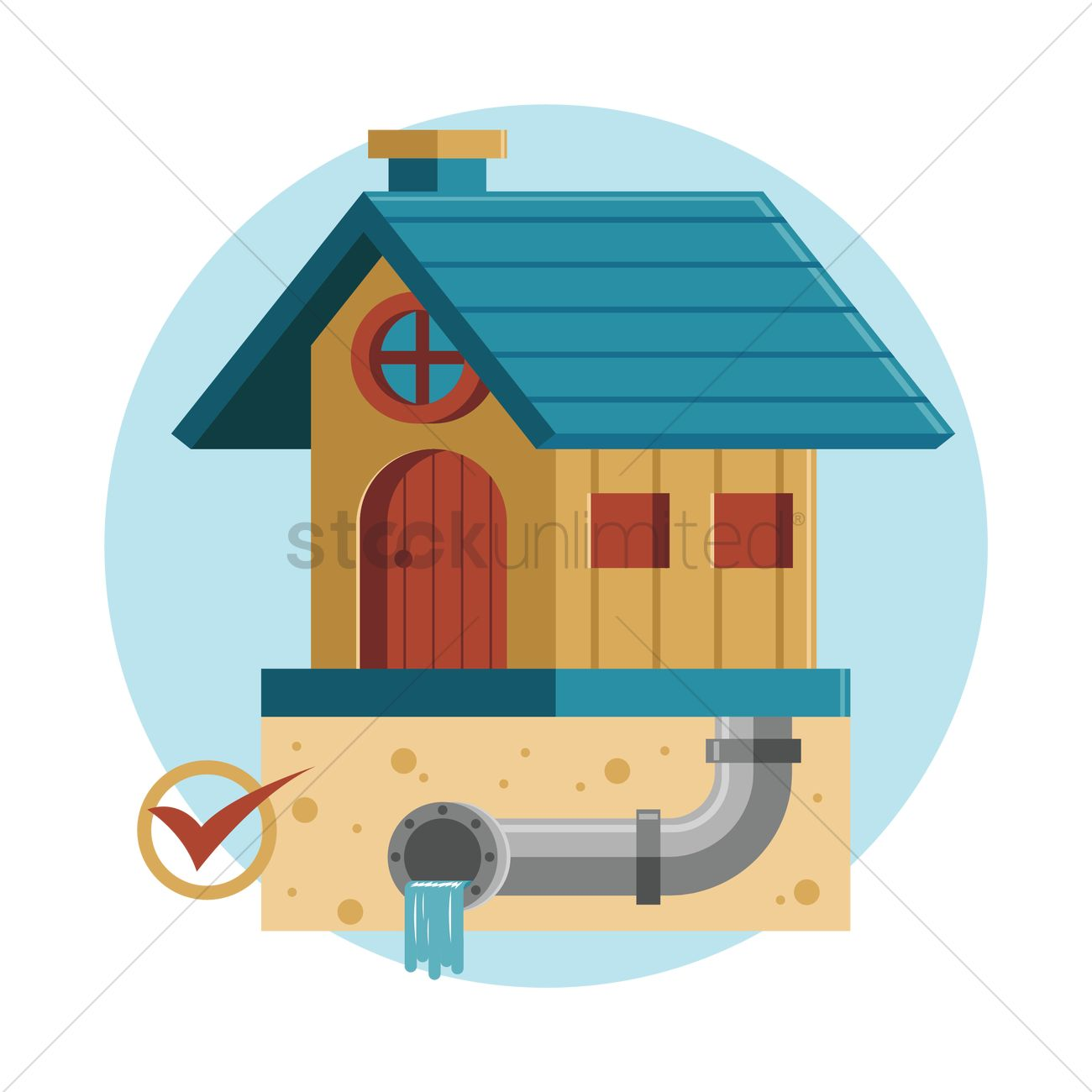 free house with drainage system vector graphic