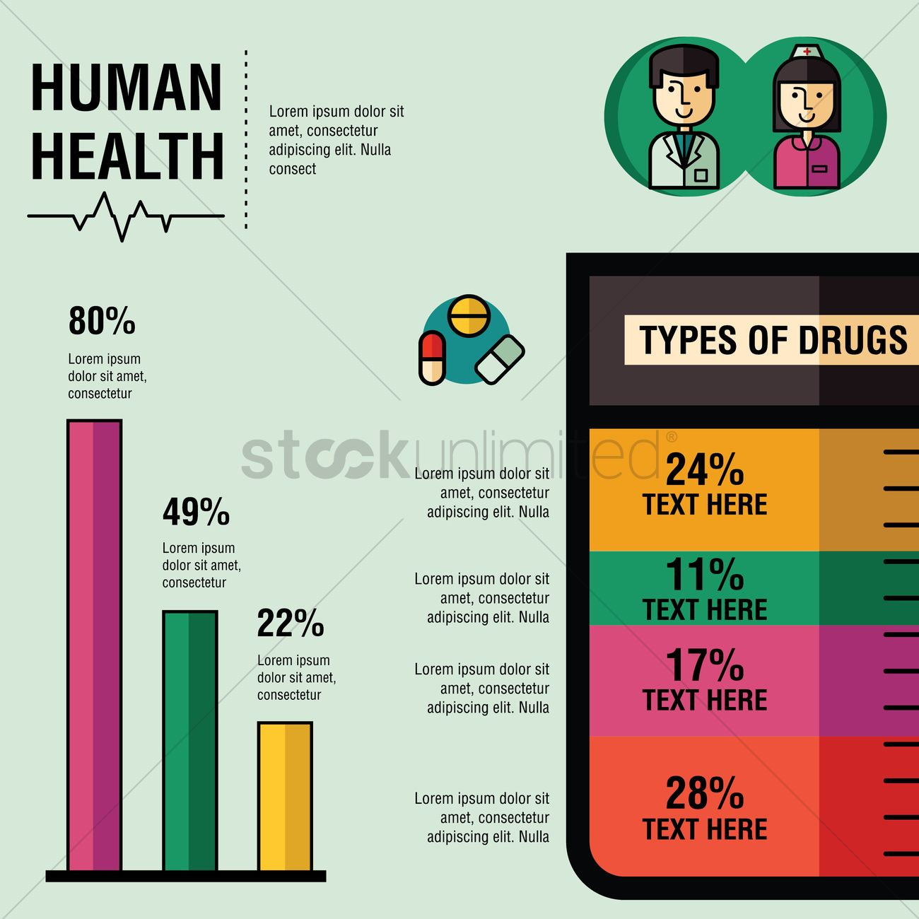 Human health with types of drugs infographic Vector Image