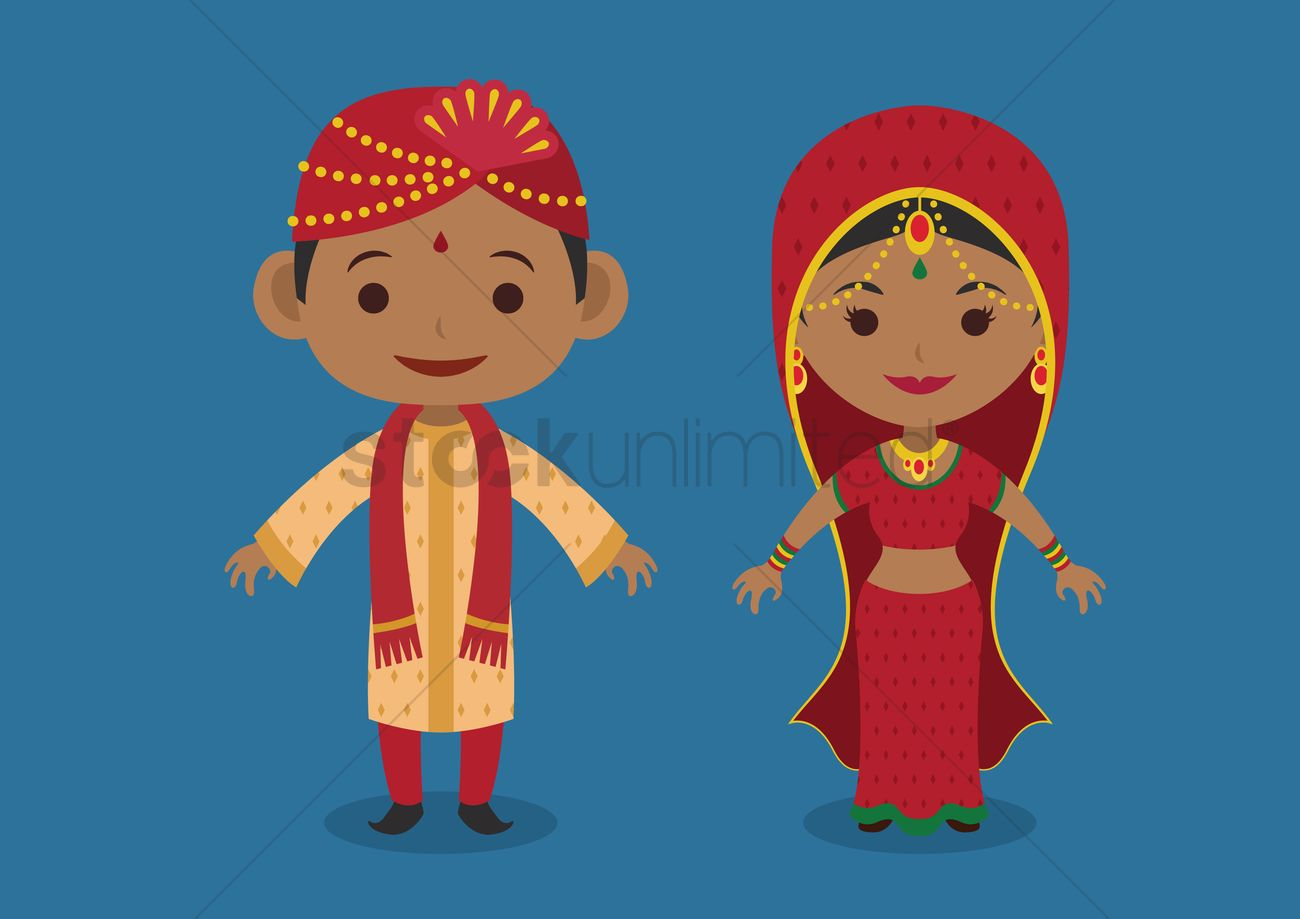 indian bride and groom vector image 1244216 stockunlimited
